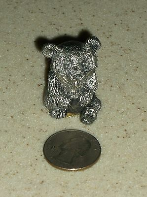 """G)Vintage Handcrafted Made In U.s.a. Pewter Panda? Bear Figurine  1 1/2""""h"""