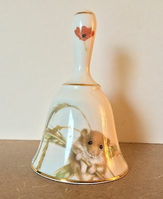 Victoria Fine Bone China Bell With Cute Harvest Mouse and Poppy Made in ENGLAND