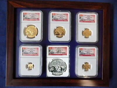 2013 China 5 Gold Panda 1 Silver, 6 Coins Set Ngc Ms 70 First Release Wall Label
