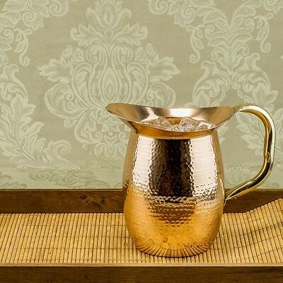Old Dutch 2 qt. Solid Copper Hammered Water Pitcher with Brass Handle
