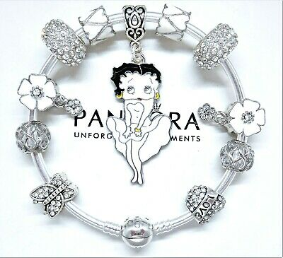 Authentic Pandora Silver Bangle Charm Bracelet With Betty Boop European Charms.