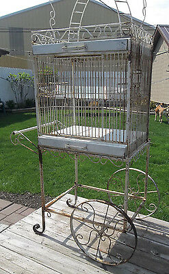 HUGE Bird Cage w/ Rolling Cart Vintage Wrought Iron Parrot/LG Bird Cage Play-Top