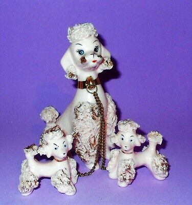 Vintage Napco Pink Spaghetti Poodle Mom Chained to 2 Babies Complete Set