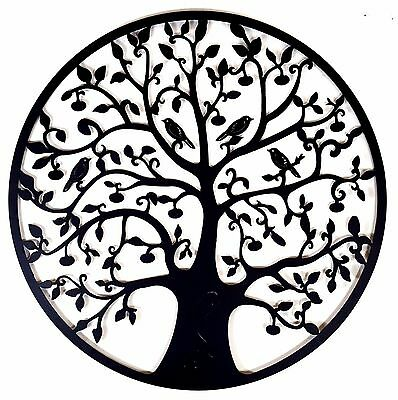 Black Tree of Life Metal Hanging Wall Art *80 cm* Round Hanging Sculpture Garden