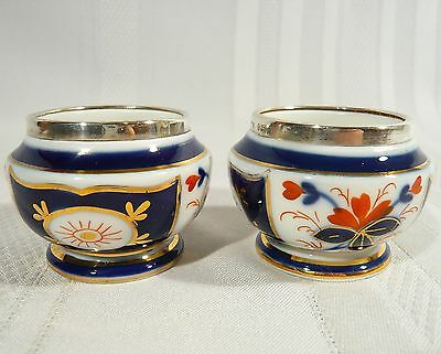 2 Antique 1903  Open Salt Cellar Sterling Silver & China Imari Gaudy Derby style