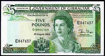 Gibraltar. Five Pounds, series E, 4-8-1988, Almost Uncirculated-Uncirculated.