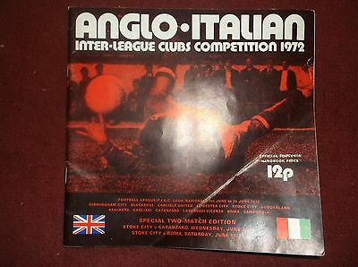 Anglo Italian Cup 1972 Programme Stoke City V Catanzaro And V Roma