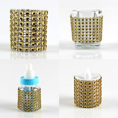 10/50 Rhinestone Gold Napkin Ring Serviette Holder Wedding Banquet Table Decor
