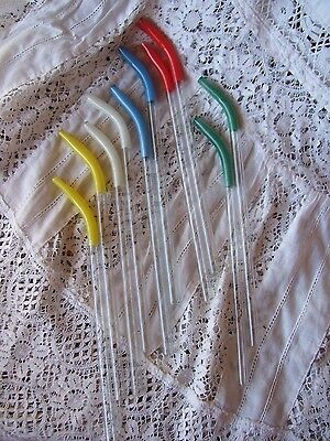 Authentic Set of 10 1920's ART DECO Glass Drinking Straws.