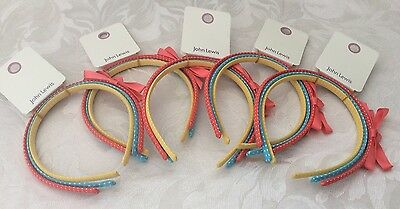 5 X John Lewis Girls Pretty Hairband Set (3) Alice Band Job Lot Ideal Party Bags