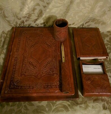Vtg Leather Art Bound set Journal Embossed Folder letter opener pen holder note