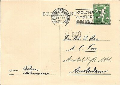 Netherlands 1928 Olympic Games FOOTBALL local postcard rate 3ct