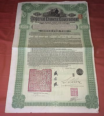 CHINA Imperial CHINESE Government HUKUANG RAILWAYS Bond £20 Share Certificate