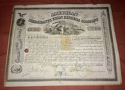 American Merchants Union Express Company Stock Certificate Signed Fargo