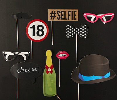 10pcs 18th Birthday Party Photo Booth Props Games Accessories Favours