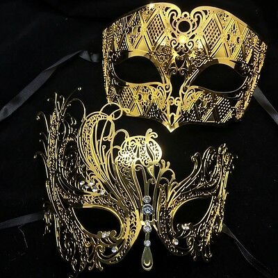 High Quality Metal Lace Laser Cut Masquerade Venetian Mask Gold