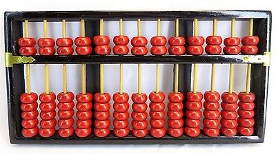Vintage LOTUS FLOWER BRAND Chinese Wooden Abacus Red 13 column 91 Beads c.1940s