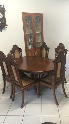 Antique Dining Table Chair Wooden Setting