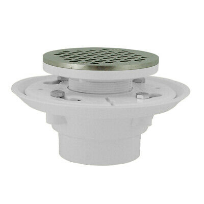 """4"""" PVC Shower Drain/Floor Drain with Chrome Plated Cast Round Strainer ,PartNo D"""