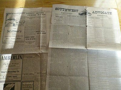 Sheets From Southwest Advocate 1883 And The Davenport 1911, Usa Broadsheets