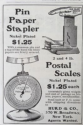 1898 Ad(F25)~Hurd & Co. Ny. Postal Scales And Stapler