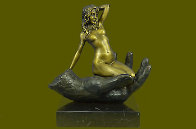 Abstract Modern Art Nude Naked Female Bronze Sculpture Marble Base Figurine Sale