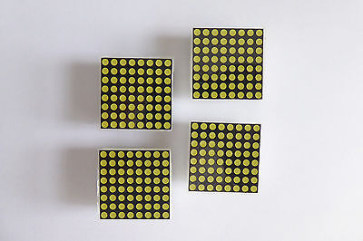 "Set of 4 Dot Matrix Displays 32 mm (1.25"") 8x8 LED White, common row anode"