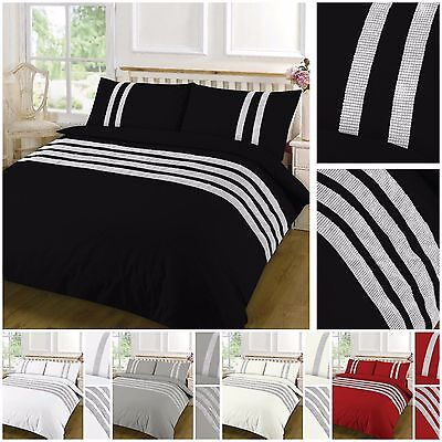 High Quality Duvet Cover Set 100% Egyptian Cotton Sequins Lace Plain All Sizes