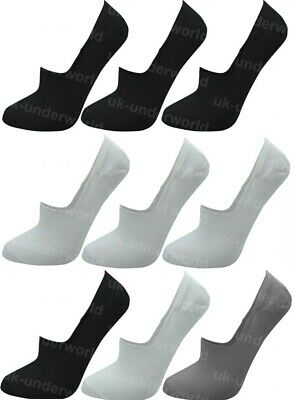 3 Or 6 Pairs Mens Ladies Invisible Socks Elasticated Heel Trainer Liners No Show