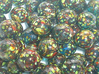 10 x 16mm SPOTTY PIRANAH HANDMADE GLASS MARBLES traditional collectable toy