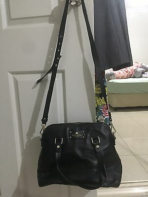 Authentic Kate Spade Black Tote Genuine Leather Cross body Womens Black Hand Bag