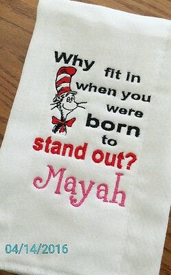 PERSONALIZED CAT IN THE HAT Burp Cloth Embroidered Baby ShoweR NuRSeRy GiFT