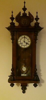Antique German Wooden Cased Wall Clock