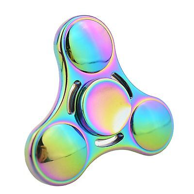 NEW 3D Tri-Fidget Hand Finger Spinner ADHD Focus Toy For Kids Adults Rainbow