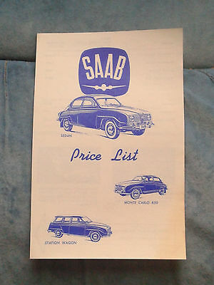 1965 Saab Price List Brochure