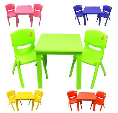 Childrens Kids Plastic Table and Chairs Nursery Garden Sets Outdoor Staudy Table