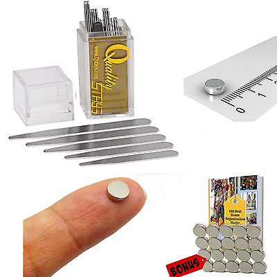 40 Metal Collar Stays + 30 Magnets f/ Men Dress Shirts (Various Size Stiffeners)