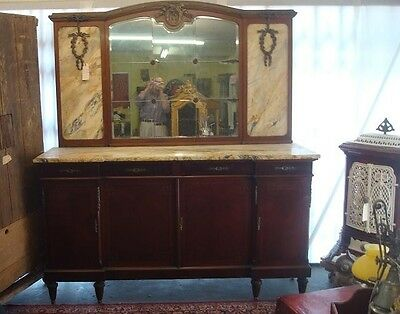 Grand, Antique Louis Xvi Style Marble-Top Sideboard With Mirror