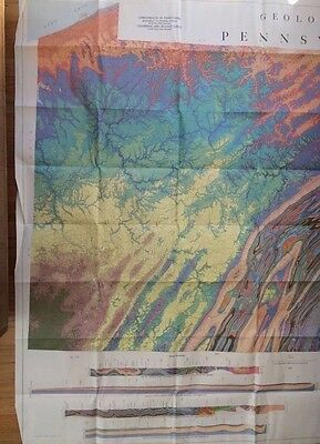 "Geologic Map of Pennsylvania Vintage 1960 Consisting of Two 41""x58"" Sections"