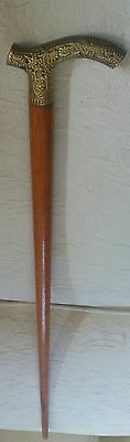 Vintage Wooden Walking Stick with Ornate Brass Handle