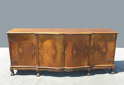 Large French Country Provincial SIDEBOARD Buffet CREDENZA Burl Wood Claw Feet