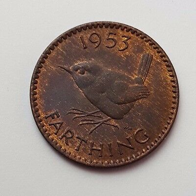 Dated : 1953 - Copper - One Farthing - Coin - Queen Elizabeth II - Great Britain