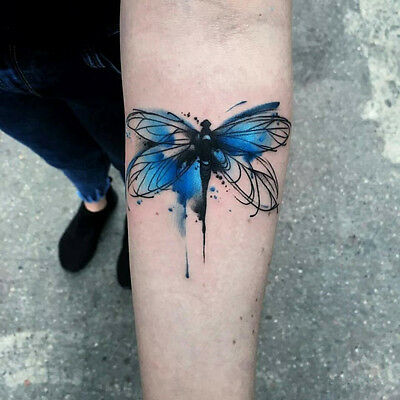 Waterproof Temporary Fake Tattoo Stickers Watercolor Blue Butterfly Oil Painting