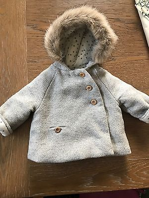 ZARA Baby Girl Outerwear Collection Coat Infant Newborn 6-9 Months Faux Fur