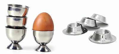 Set Of 4 Egg Cup Silver Stainless Steel Circular Serving Stand Holder