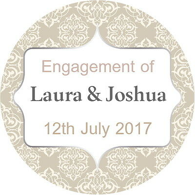 Personalised gloss quality engagement wedding stickers beige and silver