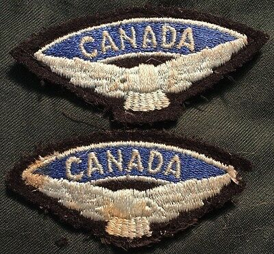 ROYAL CANADIAN AIR FORCE shoulder title badge post WWII Canada RCAF matched pair