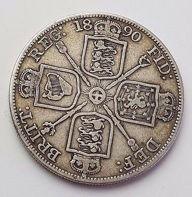 Dated : 1890 - Double Florin - Four / 4 Shillings - Queen Victoria - Silver Coin