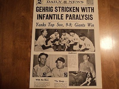 1939 Reproduction Newspaper 2 Sided Page Gehrig Stricken 61,808 Honor Lou Gehrig