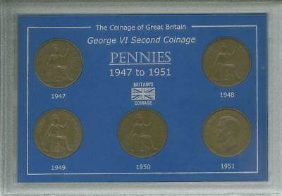 1947-1951 King George VI Pennies Penny Coin Collector Collecting Gift Type Set